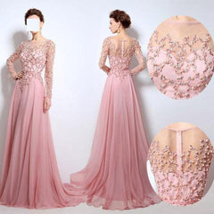 Scoop Neckline See Through Beaded Long Sleeve Pink Chiffon Long Prom Bridesmaid Dresses, BG0243