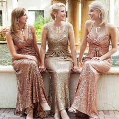 Popular Mismatched Long Sheath Sequin Bridesmaid Dresses For Wedding, BG0105