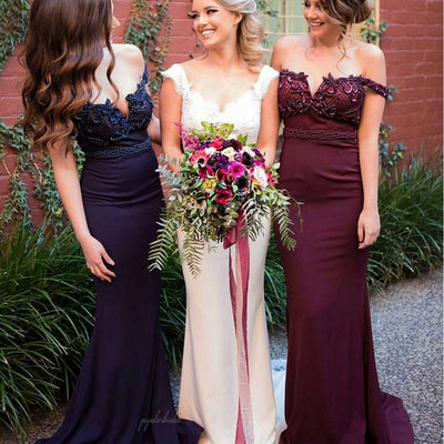 2017 Off Shoulder Long Mermaid Rhinestone Beaded Bridesmaid Dresses, BG0027