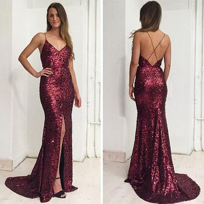 Sexy Spaghetti V-neck Maroon Sequin Front Slit Long Mermaid Prom Dresses, BG0248