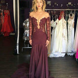 Off Shoulder Long Sleeve See Through Long Sheath Lace Jersey Prom Dresses, BG0249