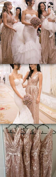 Popular Cheap Sequin Long Off Shoulder V-Neck Floor-Length Bridesmaid Dresses, BG0104