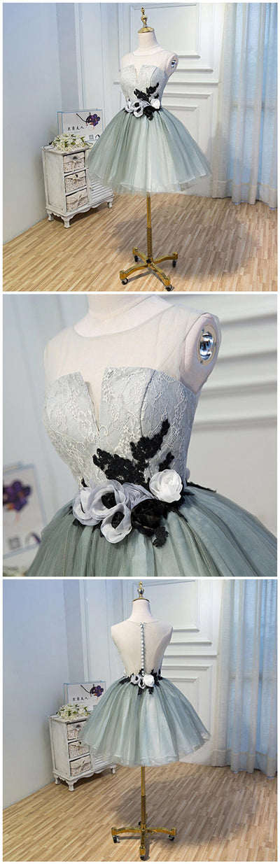 Cute Dusty Green Tulle Lace Top Black and White appliques Cheap Popular Homecoming Dresses , HD076