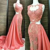 Coral Lace Beaded See Through Long A-line Satin Long Prom Dresses, BG0253