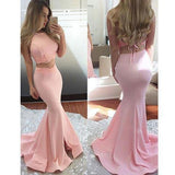 Two Pieces Simple Design Pink Satin Long Mermaid Prom Dresses, BG0259