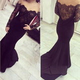Sexy Off Shoulder See Through Black Lace Long Sleeve Long Mermaid Jersey Prom Dresses, BG0255