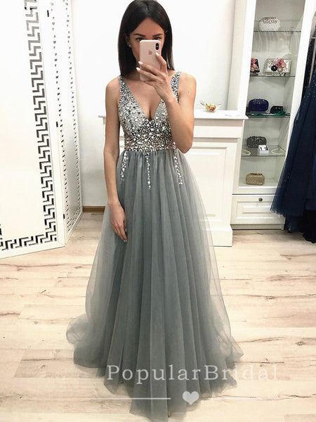 A-Line Deep V-Neck Sleeveless Tulle Long Prom Dresses With Sequins,POPD0026