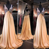V-neck High Waist Rhinestone Long A-line Elegant Backless Chiffon Prom Dresses, BG0261