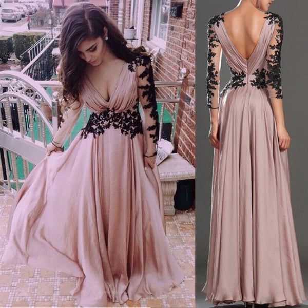 Hot Sale V-neck Long Sleeve Black Lace Long A-line chiffon Prom Dresses, BG0262
