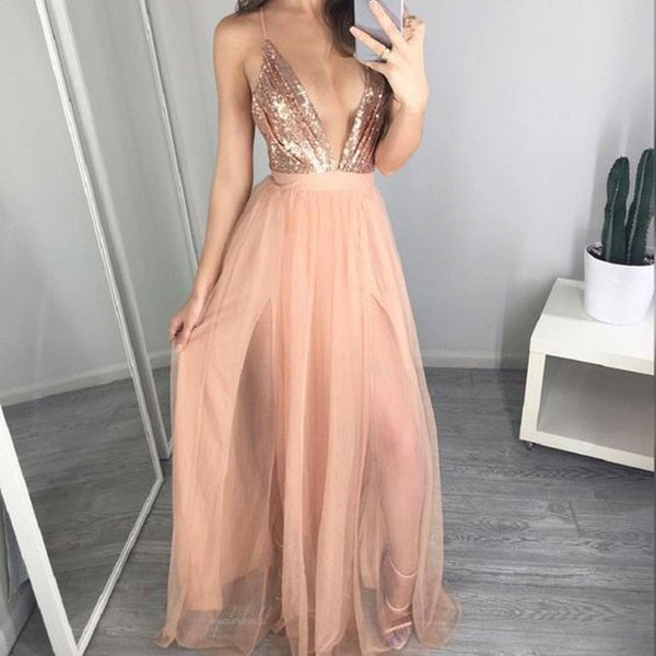 Spaghetti Deep V-Neck Sequin Top Long A-lien Nude Tulle Prom Dresses, BG0263