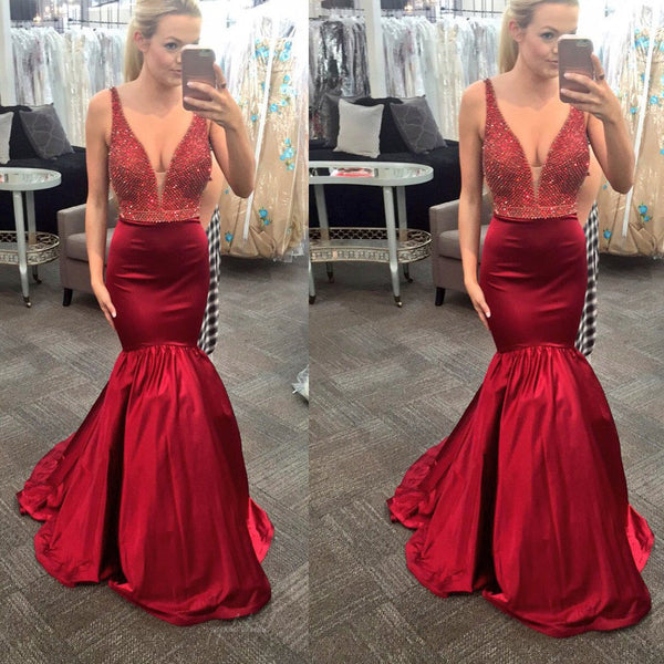 Sexy V-Neck Red Beaded Mermaid Satin Long Prom Dresses, BG0265