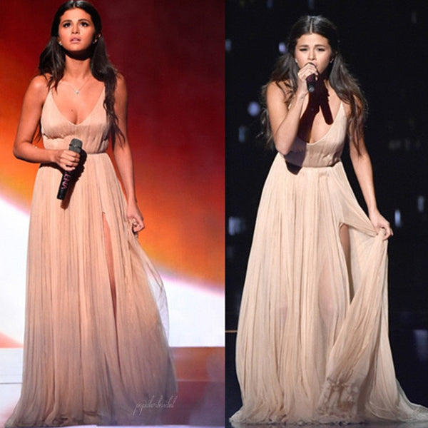 Selena Gomez Inspired Sexy V-neck Long A-line Side Slit Chiffon Prom Dresses, BG0266