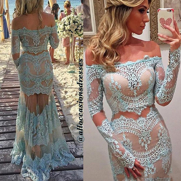 Off Shoulder Sexy See Through Blue Lace Long Mermaid Tulle Prom Dresses, BG0267