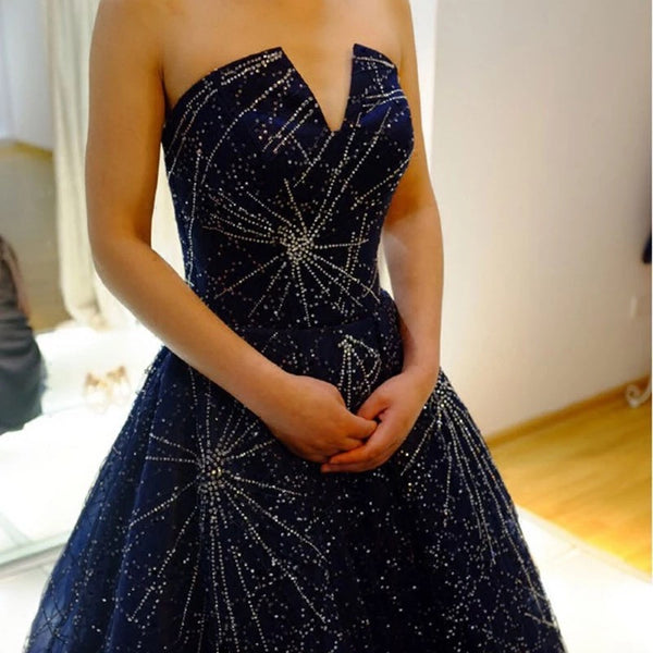 Elegant Sparkle Long A-line Ball Gown Navy Blue Tulle Rhinestone Prom Dresses, BG0268