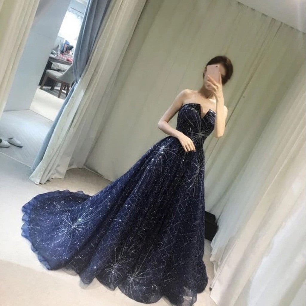 Elegant Sparkle Long A-line Ball Gown Navy Blue Tulle Rhinestone ...