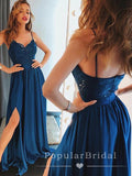A-Line Sweetheart Spaghetti Straps Split Side Cheap Long Prom Dresses With Lace,POPD0027