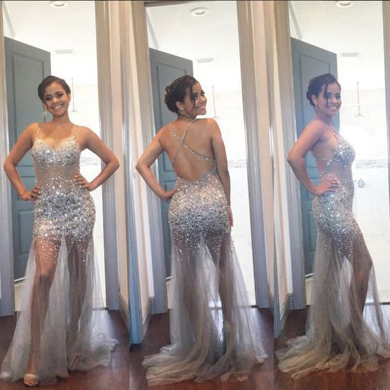 Spaghetti Cross Back Sexy See Through Silver Tulle Rhinestone Beaded Long Prom Dresses, BG0274