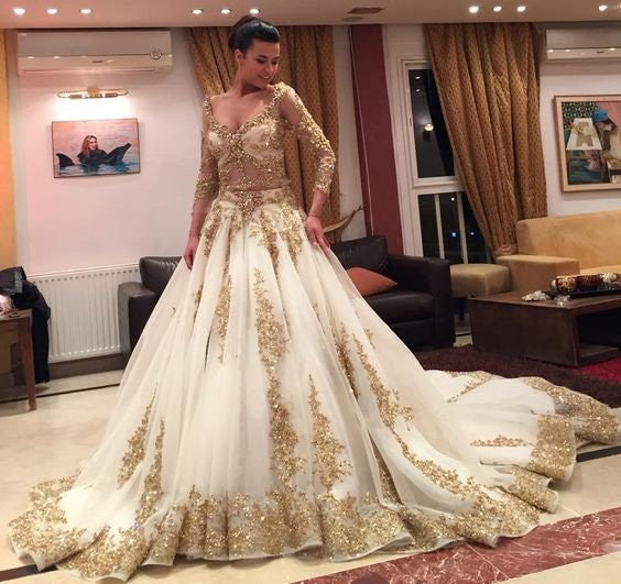 8b71f9c9f57 Long Sleeve V-neck Gold Lace Ball Gown White Organza Gorgeous Prom Wedding  Dresses