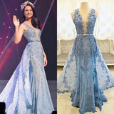 Blue Appliques Rhinestone Long Sheath Tulle Lace Prom Dresses, BG0276
