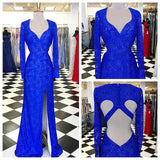 Royal Blue Elegant Long Sleeve Lace Side Slit Beaded Prom Dresses, BG0278