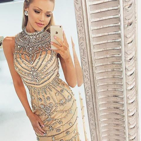 Popular Gorgeous Rhinestone High Neck Long Sheath 2017 Prom Dresses, BG0014