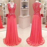 V-neck Lace Top Long A-line Chiffon Prom Formal Evening Dresses, BG0279
