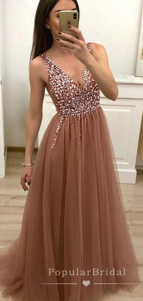 A-Line V-Neck Sleeveless Tulle Cheap Long Prom Dresses With Sequins,POPD0028