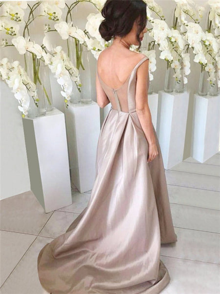V-neck Pure Color Yarn Zipper Closure Satin With Trailing Elegant Bridesmaid Dresses,WGY0415