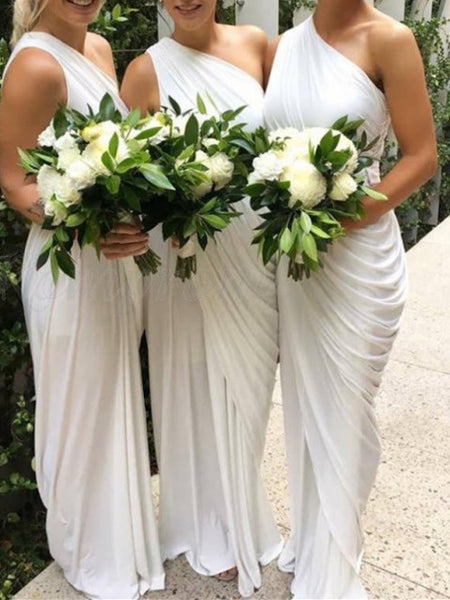 2019 Newest One-shoulder Pleats Jersey Elegant Full Gown, Bridesmaid Dresses,WGY0446