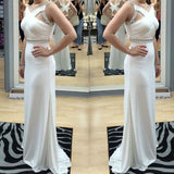 White Elegant Cross Back Beaded Long Sheath Jersey Prom Bridesmaid Dresses, BG0282