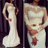 Popular Round Neck White Lace Jersey Long Sleeve Mermaid Prom Dresses with Gold Belt, BG0283