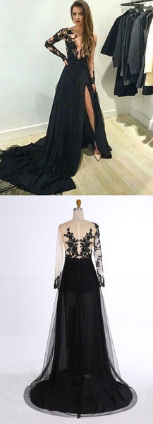 Hot Sale Black Lace Beaded Long A-line Satin Side Slit Prom Dresses, BG0284