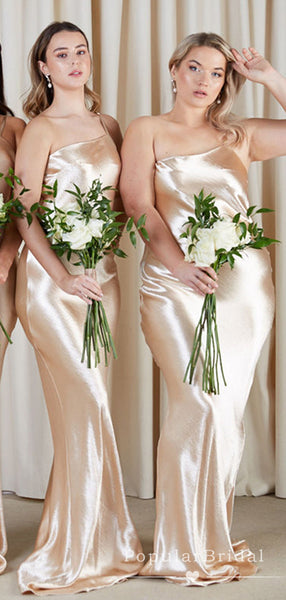 Shinny Mermaid One Strap Gold Affordable Long Bridesmaid Dresses Online,POWG0029