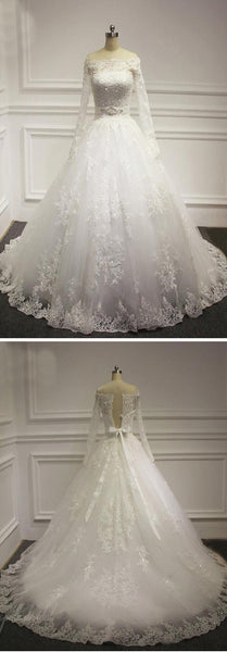 Straight Neck Long Sleeve White Lace Beaded Wedding Party Dresses, BG0197