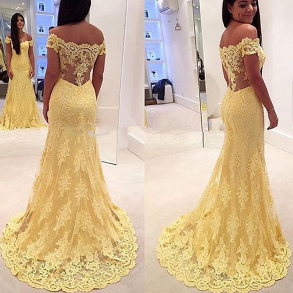 Off Shoulder Yellow Lace Long Mermaid Sheer Long Prom Dresses, BG0290