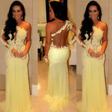 One Shoulder Sexy Sheer Yellow Lace Long Mermaid Chiffon Prom Dresses, BG0291