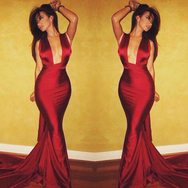 Sexy Halter Red Satin Long Mermaid Cheap Popular Prom Dresses, BG0292