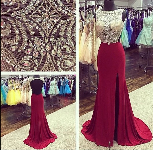 Scoop Neckline Rhinestone Sheer Top Backless Burgundy Jersey Side Slit Prom Dresses, BG0296