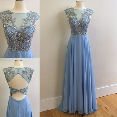 Elegant Round Neck Rhinestone Top Sheer Long Chiffon Prom Dresses, BG0297