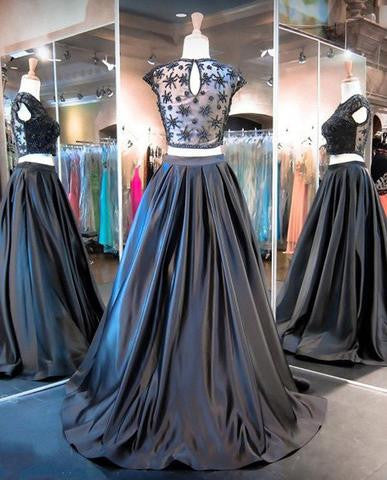 Two Pieces Black Beaded Satin Cap Sleeve Long A-line Prom Dresses, BG0299