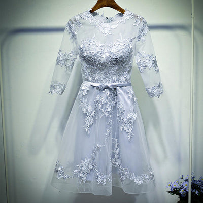 Gorgeous Lace Half Sleeve Light Grey See Through  Zip Up Homecoming Dresses, HD029