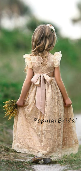 Pretty lace tulle sleeveless ball gown long flower girl dresses,PBH012