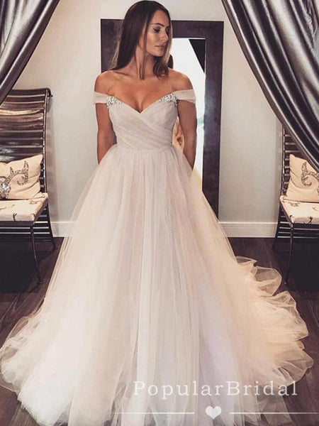 Simple A-Line Off The Shoulder Tulle Cheap Long Wedding Dresses With Rhinestone,POWD0002