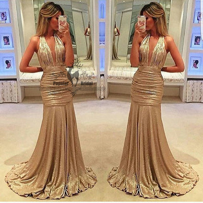 Gold Satin Prom Dresses, Deep V-neck Mermaid Prom Dress, Prom Dresses, BG0383