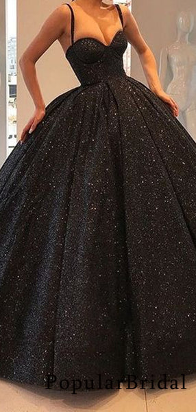 Graceful sequin spaghetti strap ball gown long Prom Dresses, PBH030