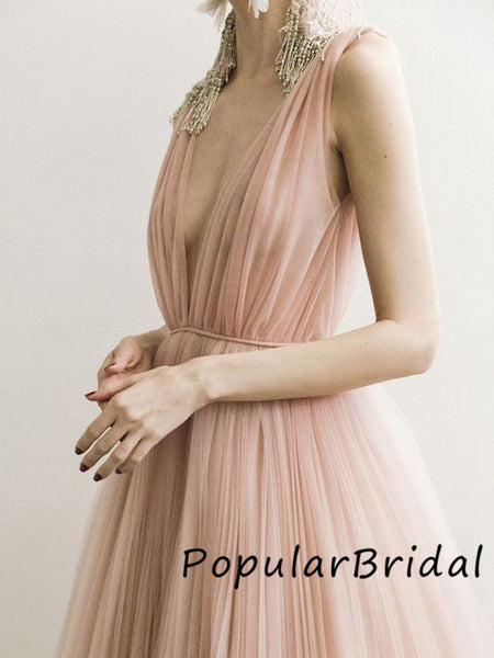 Charming V-neck tulle sleeveless ball gown Long Prom Dresses,PBH002