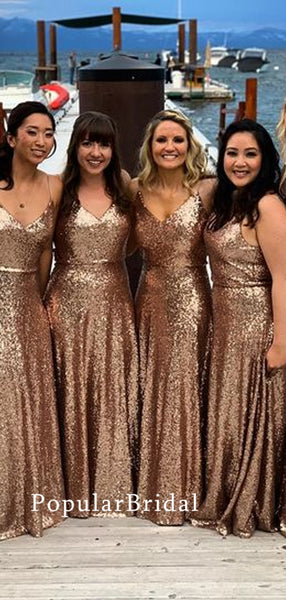 Stunning sequin Long Bridesmaid Dresses, cheap bridesmaid dresses,PBH074