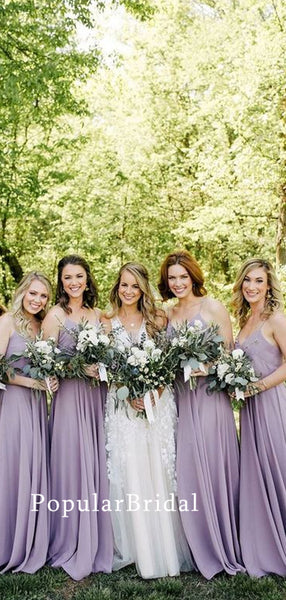 Elegant chiffon spaghetti straps Long  Bridesmaid Dresses, cheap bridesmaid dresses,PBH070