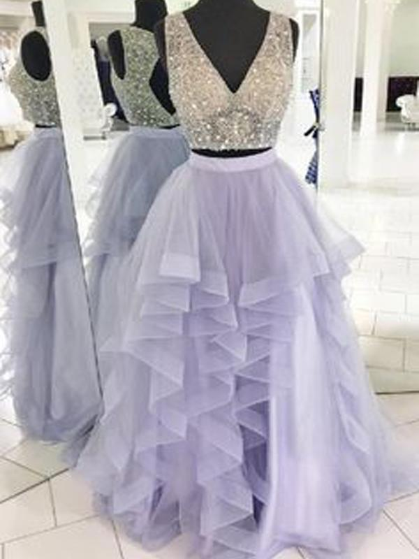 2 Pieces Prom Dresses, Beaded Prom Dresses, Lilac Prom Dresses, Long Prom Dresses, BG0393
