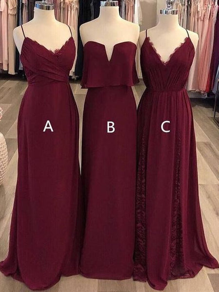 2019 Mismatched V-neck Pleats Jersey Full Gown with Ruffles, Bridesmaid Dresses,WGY0448